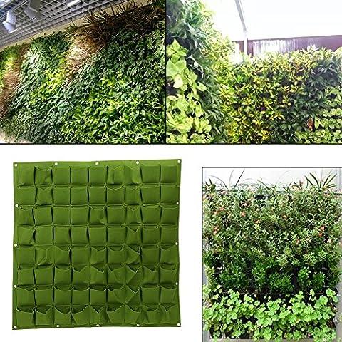 72poches de plantation Jardinage Sacs mur vertical Fleurs extérieur intérieur couleur verte Grow Sacs Green