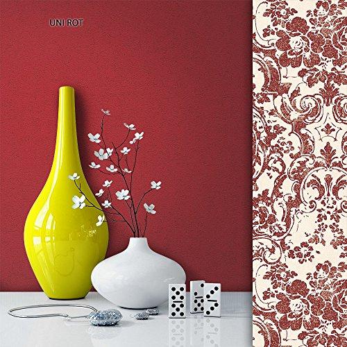 NEWROOM Tapete Rot Vliestapete Struktur,Uni schöne moderne und edle Design Optik , inklusive Tapezier Ratgeber
