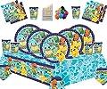 Decoración de la Fiesta de cumpleaños Infantil de Pokemon: Platos Copas Servilletas Cubiertas de Mesa con Paquete de Globos Gratis para 16 Invitados de New Pokemon Party
