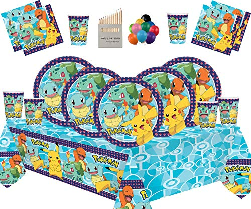 Décoration de fête d'anniversaire pour Enfants Pokemon - Assiettes Coupes Serviettes Couvertures de Table avec Ballon Gratuit - pour 16 invités