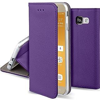 Moozy Hülle Flip Case für Samsung A5 2017, Lila - Dünne magnetische Klapphülle Handyhülle mit Standfunktion