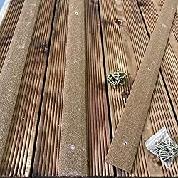 Non Slip Decking Strips - Pack of 5, 50mm x 600mm, Brown Anti Slip Floor Green Decking Timber Wooden Decking Grip Stop Slipping Composites Light Strips Safety Strips