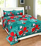 #3: Homefab India 140 TC 3D Floral Double BedSheet with 2 Pillow Cover - MultiColor