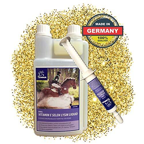 EMMA Vitamin E Selen Lysin fürs Pferd I SPARSET I Muskulatur & Stoffwechsel I Plus Aminosäure Booster 30 ml + 1 L