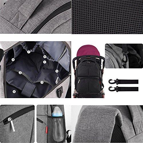 KINDOYO Mummy Rucksack Travel Bag Multifunction baby Diaper tote bag - Maccaron rot Schwarz