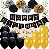 Ohigh Happy Birthday Schwarz Geburtstag Deko set, 1 set Girlande, mit 6 Pompoms ,16 Luftballons Schwarz Gold Ballons mit Gold Konfetti Luftballon(ca.30cm) , 6 Spiralen Hängedekoration für Damen Herren Geburtstag Abschluss Party Deko