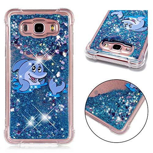 SHYHONG Kompatibel Samsung Galaxy J7 2016/J710 Hülle+5D gehärtetem Glas Dynamischer Treibsand Transparent TPU Silikon Handyhülle Vier Eckluftkissen Schutzhülle Anti-Shock Bumper Cover(Delphin)
