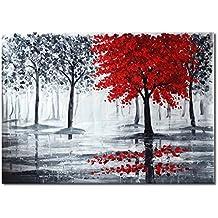 raybre art x cm pintada a mano sobre lienzo cuadros negro y blanco rojos modernos arte pared pinturas al leo grandes abstractos rboles nuevo