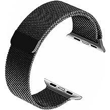 LECASO 42mm Milanese Vollständig Magnetverschluss Schließe Mesh Loop Edelstahl iWatch Band Ersatz Armband Armband für Apple Uhrenarmband Alle Modell 42mm Serie 1 und 2 - Schwarz