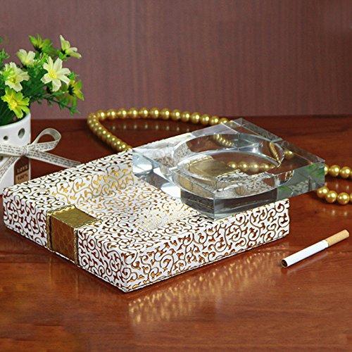 GyAfam Crystal Collection Aschenbecher, Wohnzimmer, mit dem Büro des Technischen weiß Leder Glas 19 * 19 * 3,5 cm, kontinentales Crystal Collection Aschenbecher -