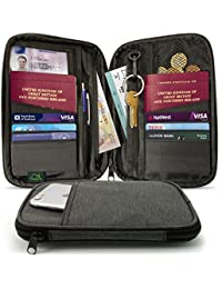 CampTeck Porta Documentos Cartera de Viaje Pasaporte Organizador de Viajes RFID para Tarjetas, Documentos de identidad, Dinero, Boleto, Llaves, Teléfono, etc.