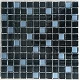 Mosaique carrelage verre noir 30x30 cm 8 mm plaque credence faience