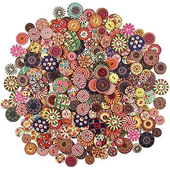 10 Stück Holzknöpfe 4cm 4 Löcher Blumenmuster natur Nähen Basteln Kleidung Deko