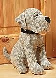 Fermaporta a forma di cane in tessuto color grigio.