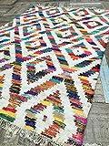 Baku weiß & Multi Farbe Geometrische grobe Baumwolle Flickenteppich Kilim Teppich (Fair Trade) 75cm x 135cm