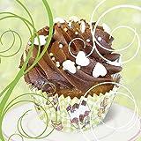 Artland Qualitätsbilder I Glasbilder Deko Glas Bilder 20 x 20 cm Ernährung Genuss Süßspeisen Dessert Foto Weiß A6GV Cupcake auf grün - Kuchen