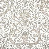Leinenstoff | Ein klassisches Damast Muster (bedruckt) mit Blumen, Blätter und Knospen - beige / taupe | Grundfarbe: weiß | 100% Leinen Stoff | Stoffbreite: 150 cm Meterware (1 meter)