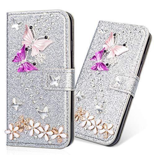 Preisvergleich Produktbild 3D Butterfly Bling Glitter Glitzer Diamond Musterg Ledertasche Slim Retro Bookstyle mit Standfunktion Karteneinschub Magnetverschluss Flip Wallet Hülle Schutzhülle für Samsung Galaxy J7 2018