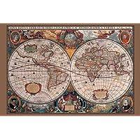 Poster carte du monde du 17ème siècle (91,5cm x 61cm)