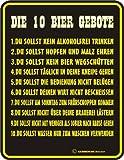 Beer - Die 10 Bier Gebote - Blech-Schild Blechschild mit Spruch, 4 Saugnäpfe - Grösse 17x22 cm