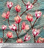 Soimoi Grun Baumwoll-Popeline Stoff Chevron & Magnolie Blumen- Dekor Stoff gedruckt 1 Meter 56 Zoll breit