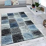 Wohnzimmer Teppich Indigo Blau Grau Trend Kariert Vintage Optik Maritimer Stil , Grösse:160x230 cm