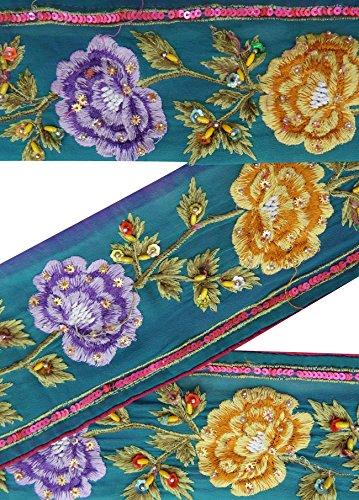 vintage-indian-sari-border-utilis-1yd-brod-garniture-femmes-blue-ribbon-lace
