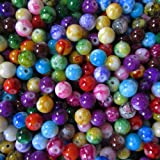 Pretty Pebbles Beads - 100 Painted Glass Beads Marble Effect Multi Colour Mix 8mm