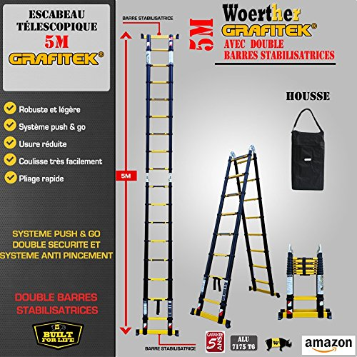 ESCABEAU-ÉCHELLE TÉLESCOPIQUE WOERTHER TRIPLE FONCTIONS / 5M-2M50 / AVEC HOUSSE / MODÈLE GRAFITEK...
