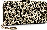 styleBREAKER Glitzer Geldbörse mit Samt Sterne, umlaufender Reißverschluss, Portemonnaie, Damen, 02040080, Farbe:Gold