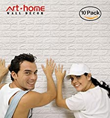 Idea Regalo - Arthome 3D Carta da Parati Mattoni Bianco,3d Muro Pannelli, 3d Muro Adesivi Pannelli,Carta da Parati per Cucina,Ufficio, Bagno, Soggiorno, Sfondo TV(10 pezzi -56.9 piedi quadrati)