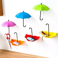 Glive's Set of 6 pcs Umbrella Drop Hook Key Hat Wall Multipurpose Holder Hanger Hooks