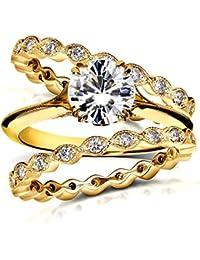 Vintage para siempre brillante Moissanite y Diamond Bridal Set 13/4quilates (de quilate) 14K amarillo oro _ 8,5