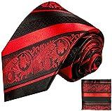 Paul Malone Rot schwarz gestreiftes Krawatten Set 100% Seidenkrawatte + Einstecktuch