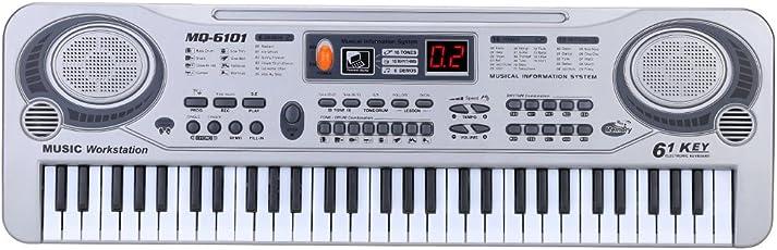 Ammoon 21LED Elektronisches Keyboard mit 61Tasten, Musikspielzeug mit Mikrofon Electone, Weihnachtsgeschenk für Kinder