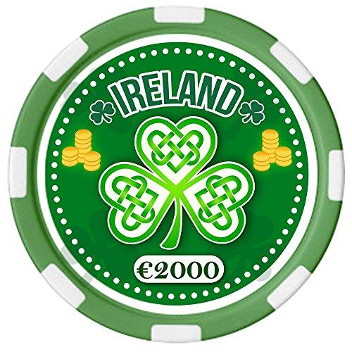 Carrolls Irish Gifts Irischer Pokerchip mit Text Ireland und keltischem Kleeblatt-Design