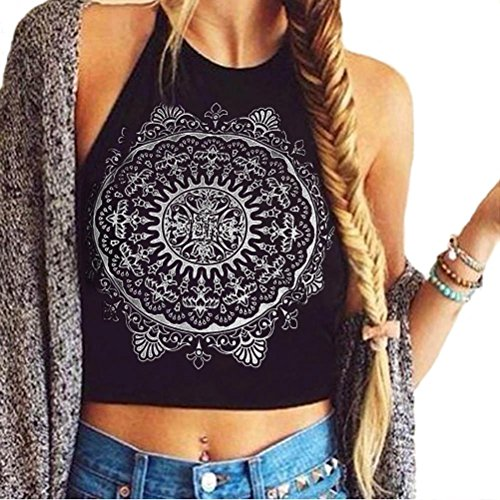 AMUSTER Donne Mandala Serbatoio Allacciato Dietro Il Collo Senza Maniche Stampa Crop Tops Base Nero Gilet Blusa T-Shirt (S)