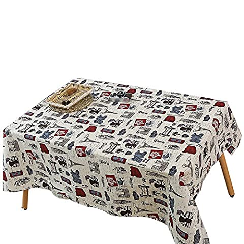 YUUVE Tablecloths Tower Printed Rectangular Tablecloths Multi-function Dining-table Cloth Cotton Linen Cover Cloth Art