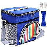 LIVEHITOP 15 Litri Grande Borsa Termica Isolato Lunchbox Fredda Borsa con Tracolla per Cibo Bevande Vino Lavoro Famiglia Picnic Viaggio Uomo e Donna, 29x22x24cm/11.4''x8.7''x9.4'' (Blu)