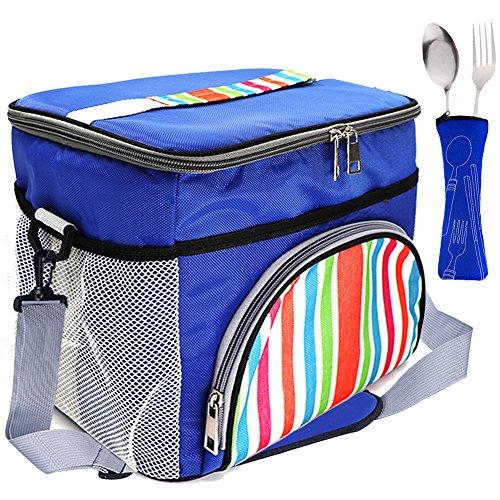 LIVEHITOP 15L Grande Bolsa de Almuerzo Bolso Enfriador Térmico con Correa de Hombro Utensilio para Picnic Playa Camping Trabajo Escuela, 29x22x24cm/11.4''x8.7''x9.4'' (Azul)