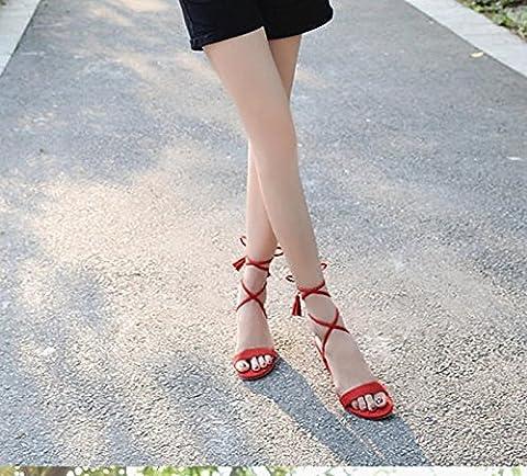 SDKIR-rome été les sandales les pieds des chaussures grossières des talons hauts lace correspondent tous les étudiants trente - six de gueules