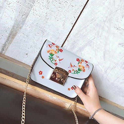 Weibliche mode platz Persönlichkeit paket kleine quadratische damen handtasche hellgrau