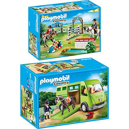 PLAYMOBIL® Country 2er Set 6928 6930 Pferdetransporter + Reitturnier