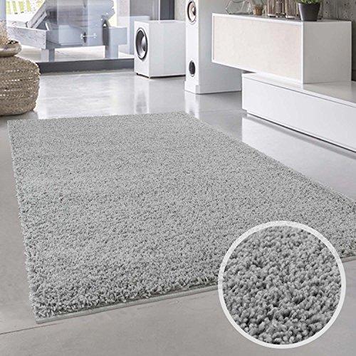Shaggy-Teppich, Flauschiger Hochflor Wohn-Teppich, Einfarbig/ Uni in Grau für Wohnzimmer, Schlafzimmmer, Kinderzimmer, Esszimmer, Größe: Läufer 80 x 150 cm