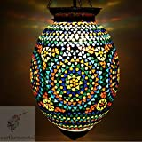 EarthenMetal Handcrafted Egg Shaped Mosaic Designed Glass Hanging Light