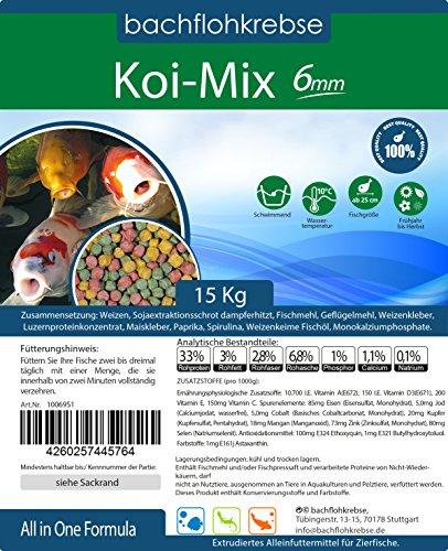 Koimix 6mm - 1 Sack 15 kg (ca 37,5L) Koi Pellets Koifutter, Teichfutter