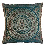 GANESHAM HANDICRAFTS Funda de cojín decorativa india de seda brocado banarsi étnico para sofá, decoración de habitación hippie, manta de coche, fundas de almohada