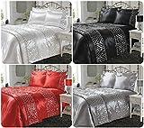 Voice7 Luxury Satin Silk Sequin Shimmer DUVET COVER SET with Pillowcases ~ SPARKLE Crystal Bedding (Silver, Double DUVET SET)