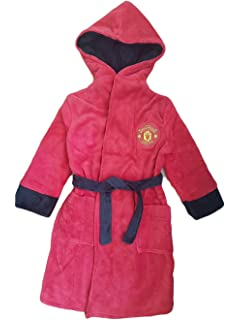 F4S/® Boys Manchester United Football Club Soft Fleece Dressing Gown Bath Robe Ages 3-12