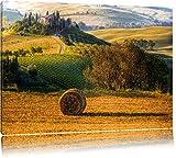 Italienische Toskana Landschaft Format: 120x80 auf Leinwand, XXL riesige Bilder fertig gerahmt mit Keilrahmen, Kunstdruck auf Wandbild mit Rahmen, günstiger als Gemälde oder Ölbild, kein Poster oder Plakat